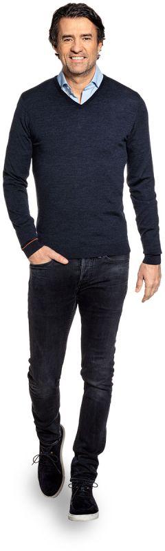 Blauwe V hals trui voor heren van 100% merinowol