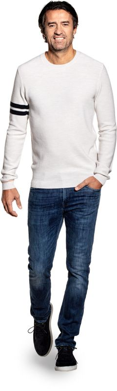 Bee Striped Sleeve Wool White