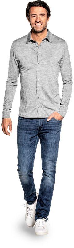 Dress shirt for men made of Merino wool in Light grey