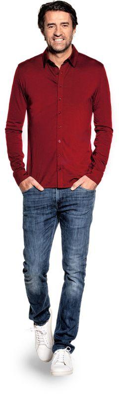 Dress shirt for men made of Merino wool in Red