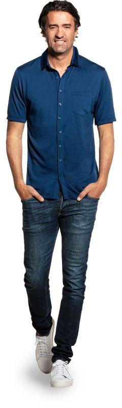 Joe Shirt Button Up Short Sleeve Bright Blue