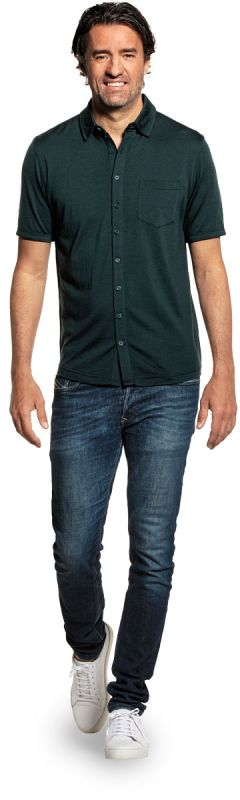 Joe Shirt Button Up Short Sleeve Dark Green