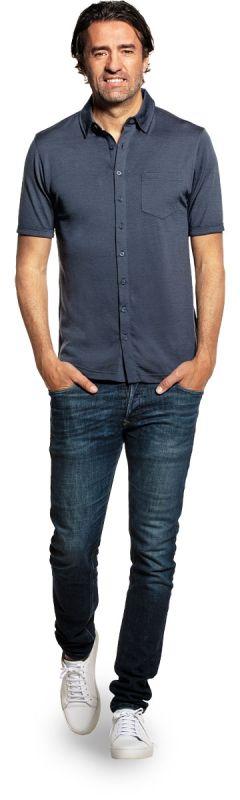 Joe Shirt Button Up Short Sleeve Dark Steel
