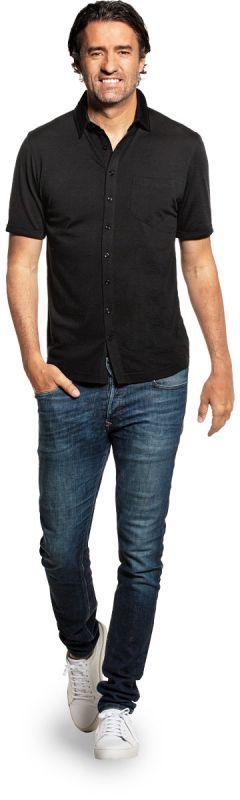 Joe Shirt Button Up Short Sleeve Deep Black