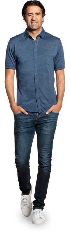 Joe Shirt Button Up Short Sleeve Jeans Blue