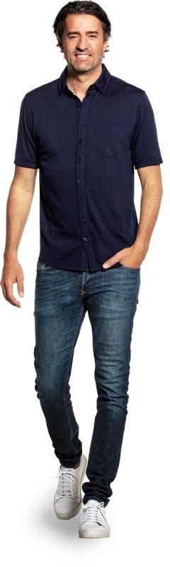 Joe Shirt Button Up Short Sleeve Navy Blue