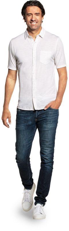 Joe Shirt Button Up Short Sleeve Sand White