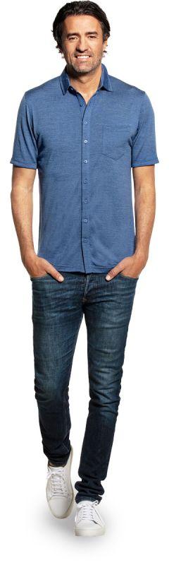 Joe Shirt Button Up Short Sleeve Yacht Blue