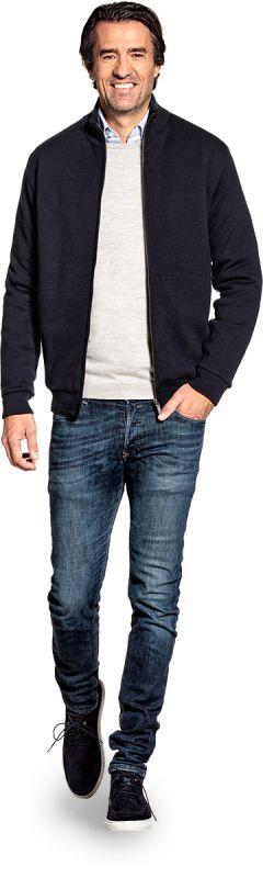 Jacket for men made of Merino wool in Dark blue