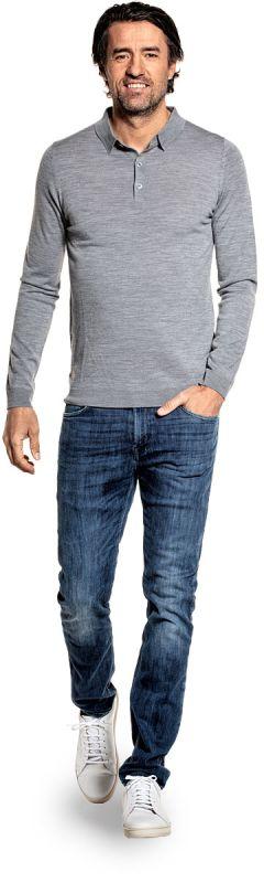 Poloshirt Langarm für Herren aus Merinowolle in Grau