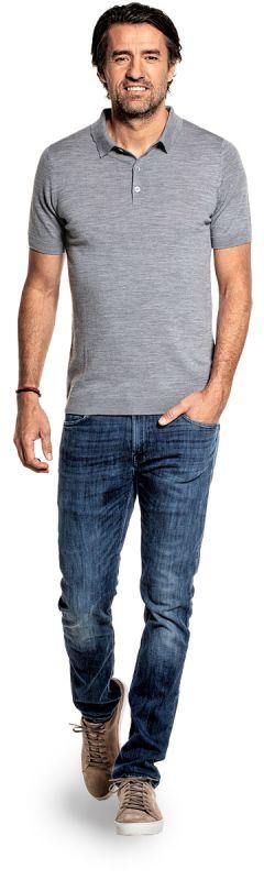 Poloshirt für Herren aus Merinowolle in Grau