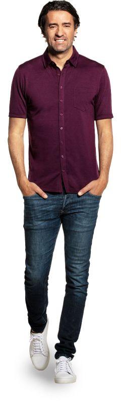 Joe Shirt Button Up Short Sleeve Red Cabbage