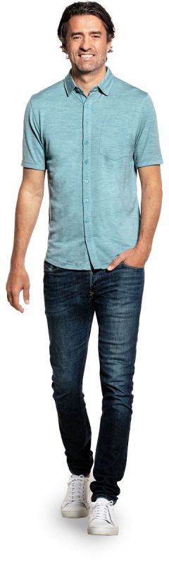 Joe Shirt Button Up Short Sleeve Mythos Blue