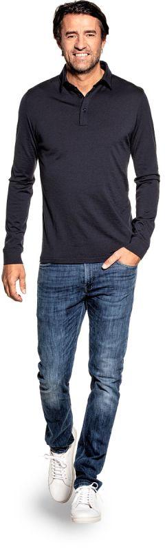 Joe Shirt Polo Long Sleeve Blue Grey