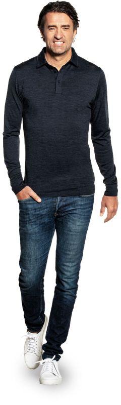 Shirt Polo Long Sleeve Blue Whale