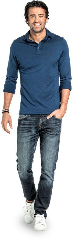 Poloshirt Langarm für Herren aus Merinowolle in Leuchtendes Blau