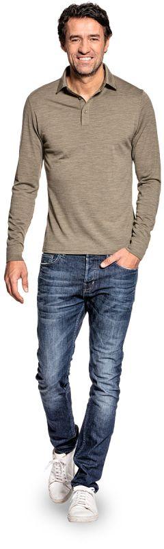 Shirt Polo Long Sleeve Clean Kaki