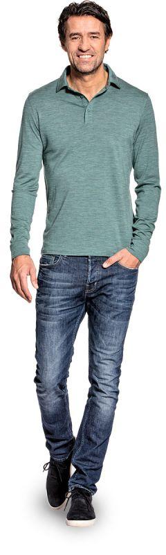 Poloshirt lange mouw voor mannen gemaakt van merinowol in het Lichtgroen
