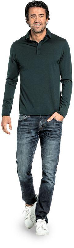 Polo shirt long sleeve for men made of Merino wool in Dark green