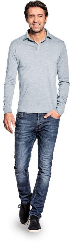 Shirt Polo Long Sleeve Hazy Blue