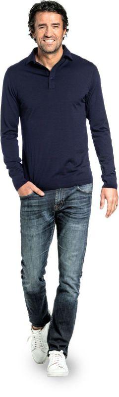 Shirt Polo Long Sleeve Navy Blue