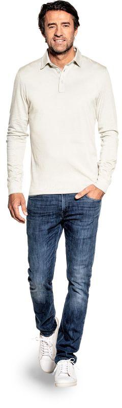 Poloshirt Langarm für Herren aus Merinowolle in Weiß