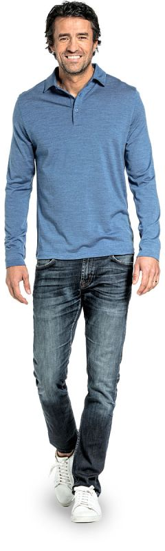 Shirt Polo Long Sleeve Yacht Blue
