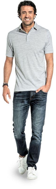 Polo shirt for men made of Merino wool in Light grey
