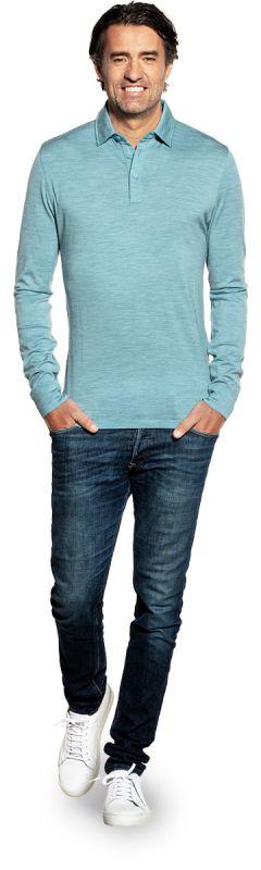 Shirt Polo Long Sleeve Mythos Blue