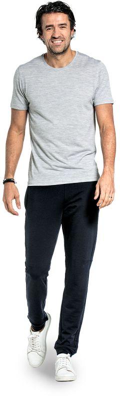 Crew neck T-shirt for men made of Merino wool in Light grey