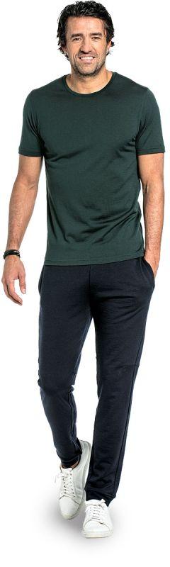 Crew neck T-shirt for men made of Merino wool in Dark green