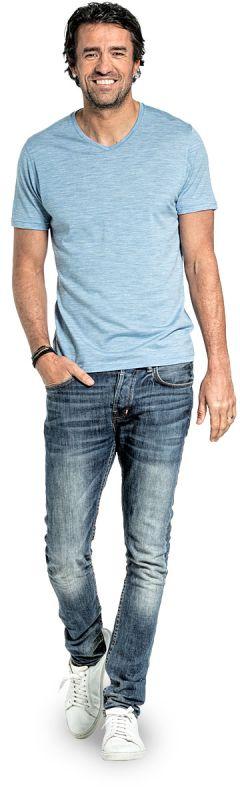Joe Shirt V-neck Glacier Blue