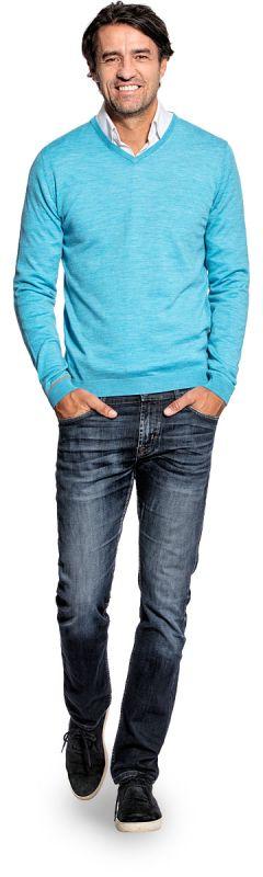 Joe V-neck Aqua Blue