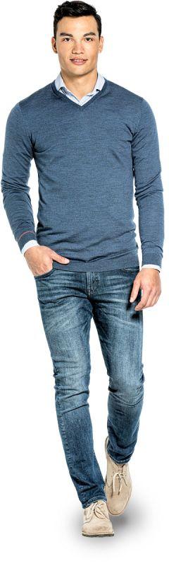 Joe V-neck Extra Long Jeans Blue