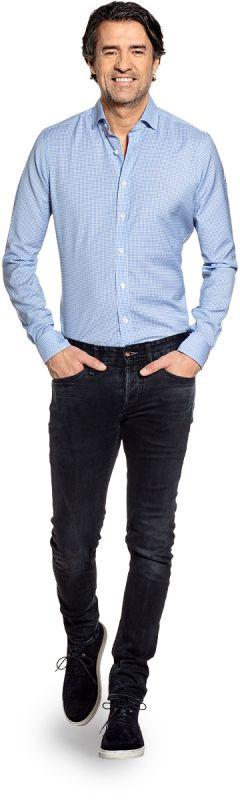Joe Woven Shirt Gingham Light Blue