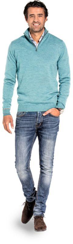 Half zip sweater for men made of Merino wool in Light blue