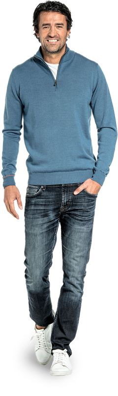 Half zip sweater for men made of Merino wool in