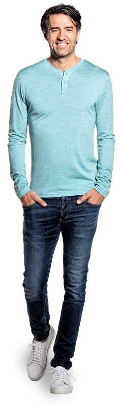 Shirt Henley Long Sleeve Blue Capri
