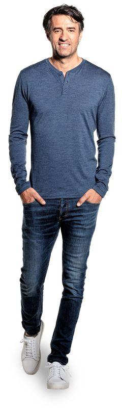 Shirt Henley Long Sleeve Coastal Blue