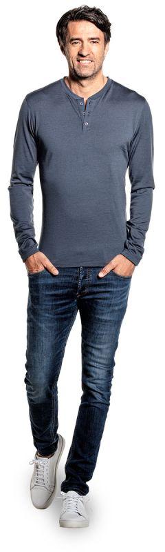Shirt Henley Long Sleeve Dark Steel