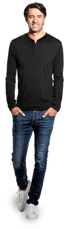 Shirt Henley Long Sleeve Deep Black