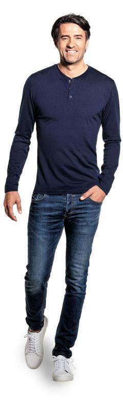 Shirt Henley Long Sleeve Navy Blue