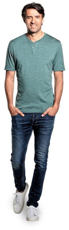 Shirt Henley Short Sleeve Cloud Forest