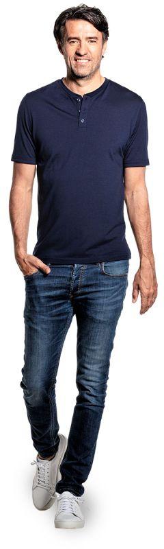Shirt Henley Short Sleeve Navy Blue