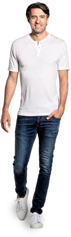 Shirt Henley Short Sleeve Sand White