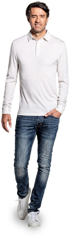 Shirt Polo Long Sleeve Sand White