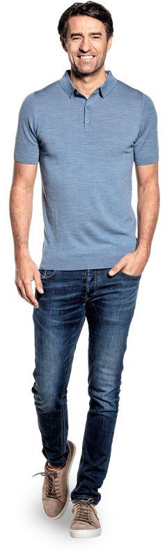 Joe Riva Buttons Short Sleeve Ice Blue