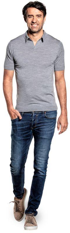 Joe Riva Short Sleeve Silver Grey