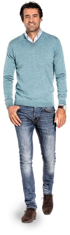 V hals trui voor mannen gemaakt van merinowol in het Helderblauw