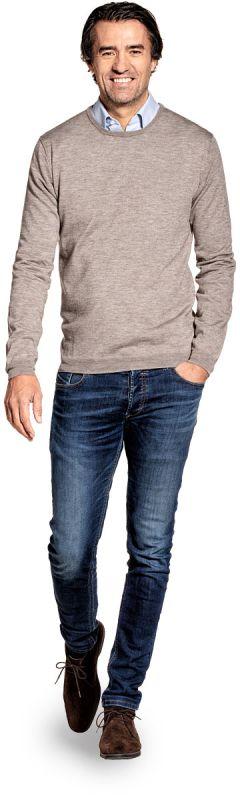 Pullover met Yakwol voor mannen gemaakt van merinowol in het Beige